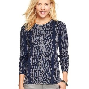NWT Gap Cheetah Animal Print Blue Gray Sweater XS